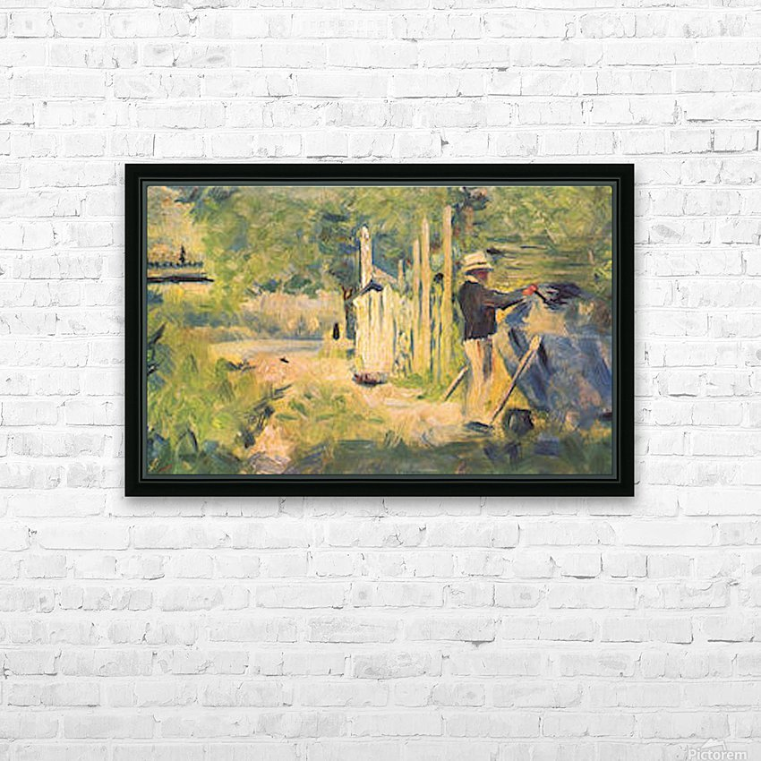 A man removes his boat by Seurat HD Sublimation Metal print with Decorating Float Frame (BOX)