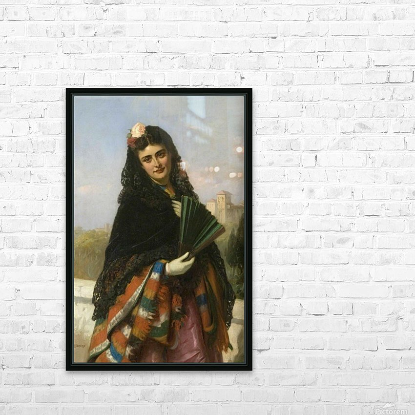 Spanish lady with a fan HD Sublimation Metal print with Decorating Float Frame (BOX)
