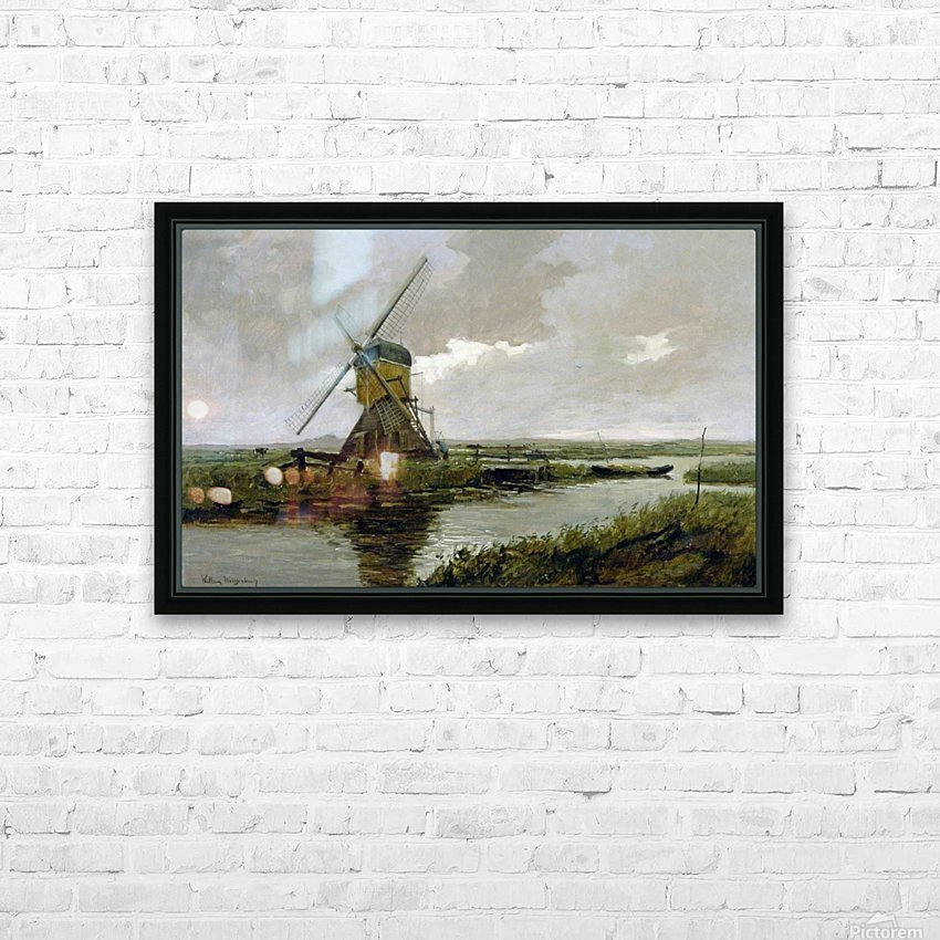 Landscape with a mill HD Sublimation Metal print with Decorating Float Frame (BOX)