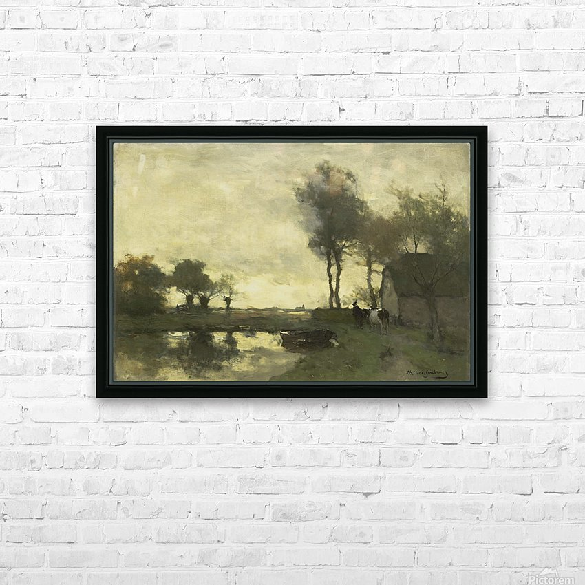 Landschap met boerderij bij een plas HD Sublimation Metal print with Decorating Float Frame (BOX)
