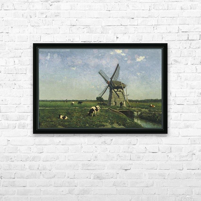 Landscape with Windmill near Schiedam HD Sublimation Metal print with Decorating Float Frame (BOX)