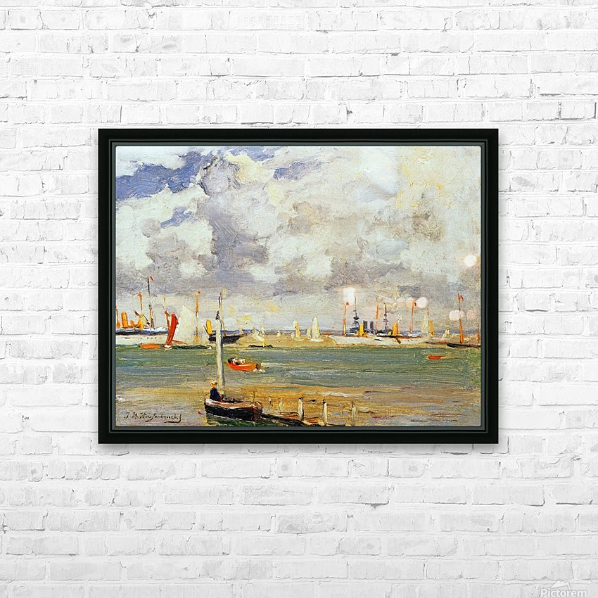 Ships in the harbour HD Sublimation Metal print with Decorating Float Frame (BOX)