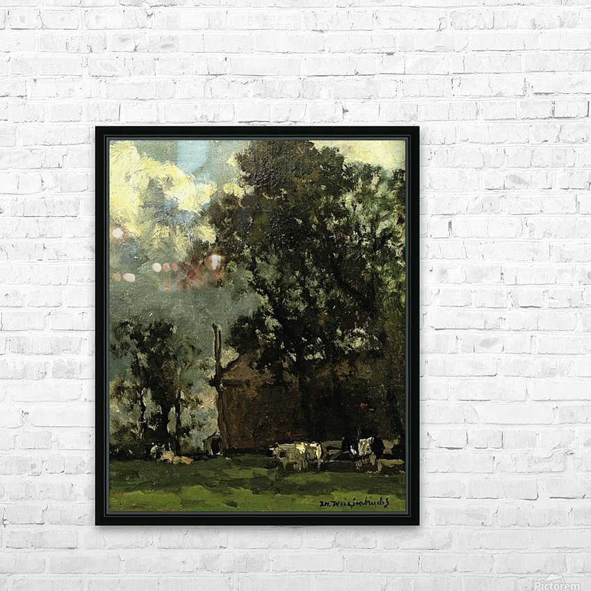 Cows in a sunny landscape HD Sublimation Metal print with Decorating Float Frame (BOX)