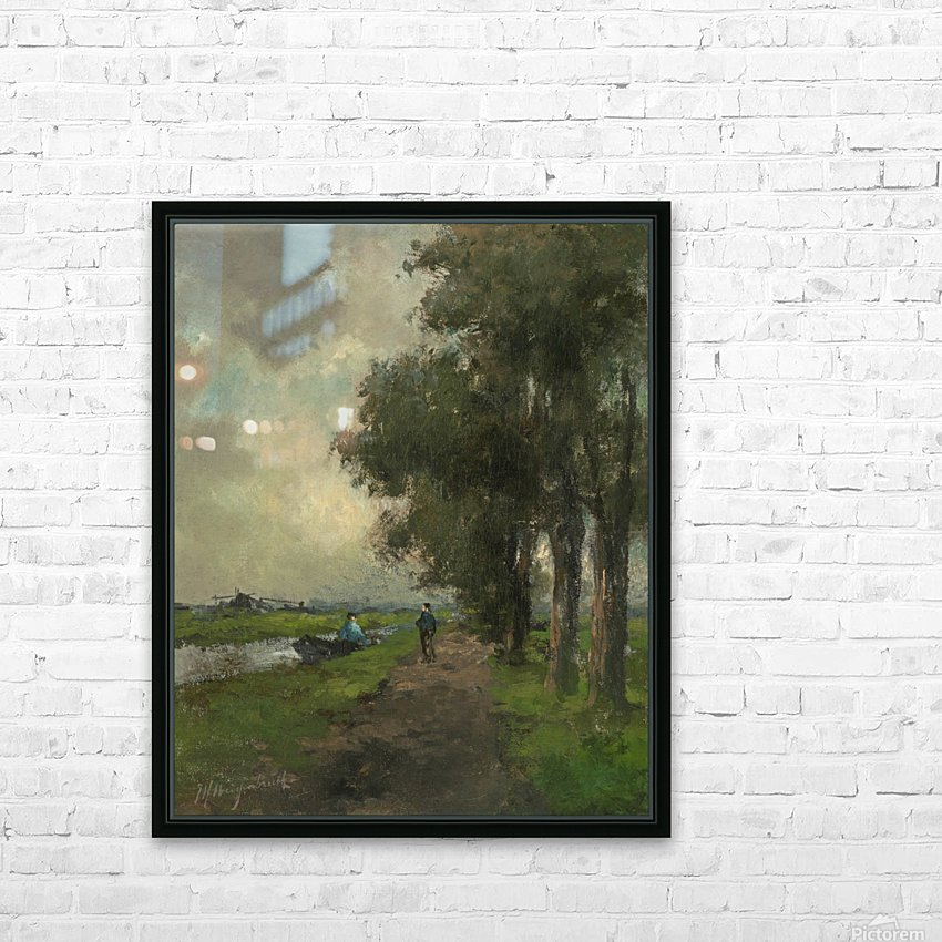 Farmers conversing on a towpath near Noorden HD Sublimation Metal print with Decorating Float Frame (BOX)