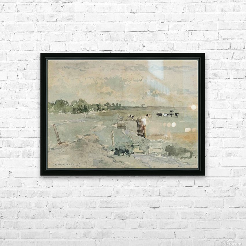 Landscape with cows and trees HD Sublimation Metal print with Decorating Float Frame (BOX)