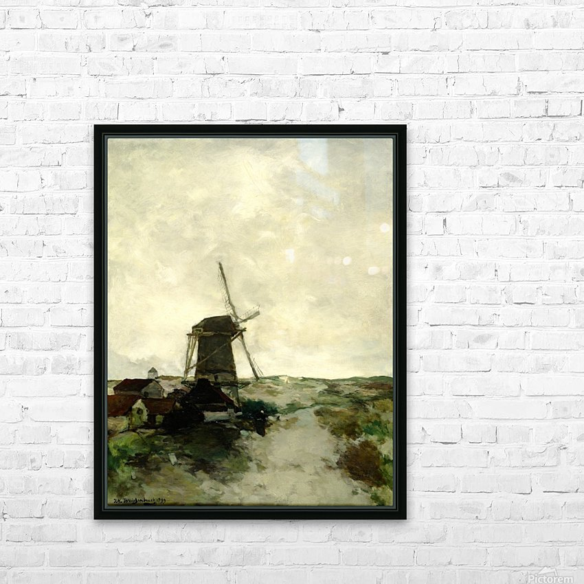 Landscape with houses and a mill HD Sublimation Metal print with Decorating Float Frame (BOX)