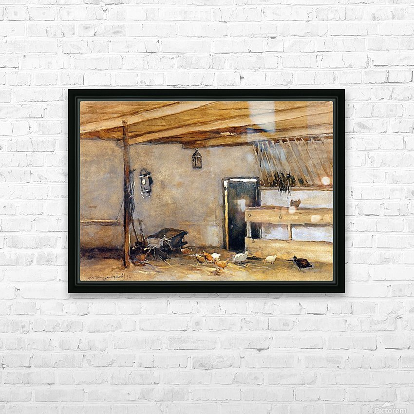 Stable with chickens HD Sublimation Metal print with Decorating Float Frame (BOX)