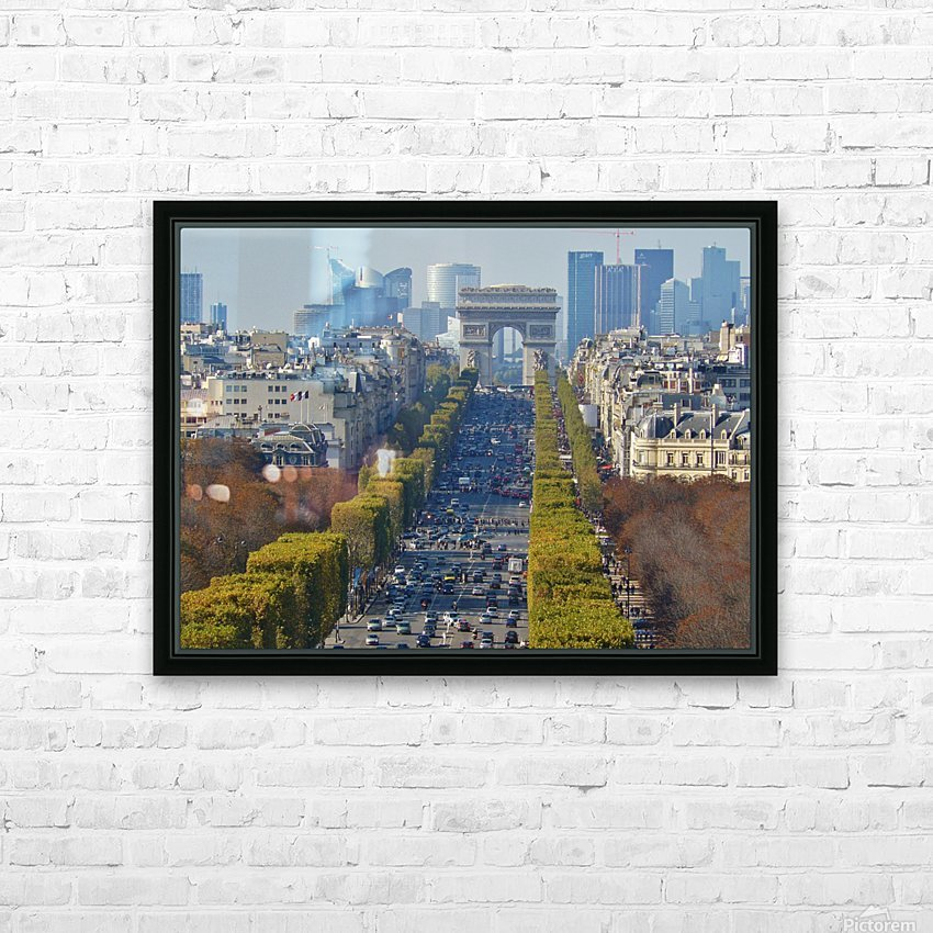 Arc d'Triompe up the Champs Elysees HD Sublimation Metal print with Decorating Float Frame (BOX)