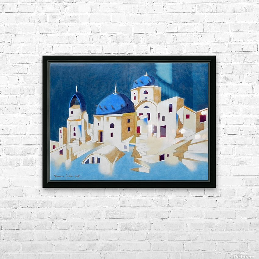 Memory of Santorini HD Sublimation Metal print with Decorating Float Frame (BOX)