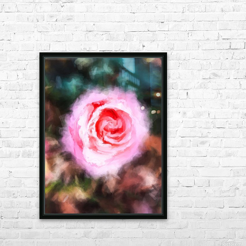 pink rose with green and brown background HD Sublimation Metal print with Decorating Float Frame (BOX)