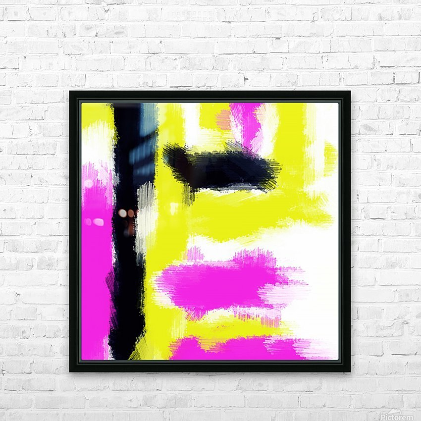 pink yellow and black painting abstract with white background HD Sublimation Metal print with Decorating Float Frame (BOX)