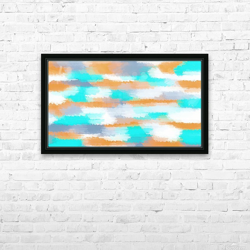 orange and blue painting abstract with white background HD Sublimation Metal print with Decorating Float Frame (BOX)