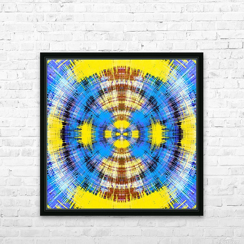 geometric blue yellow and brown circle plaid pattern abstract background HD Sublimation Metal print with Decorating Float Frame (BOX)