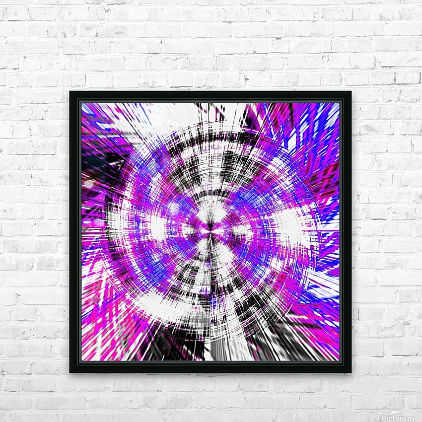 geometric pink blue purple and black circle plaid pattern with white background HD Sublimation Metal print with Decorating Float Frame (BOX)