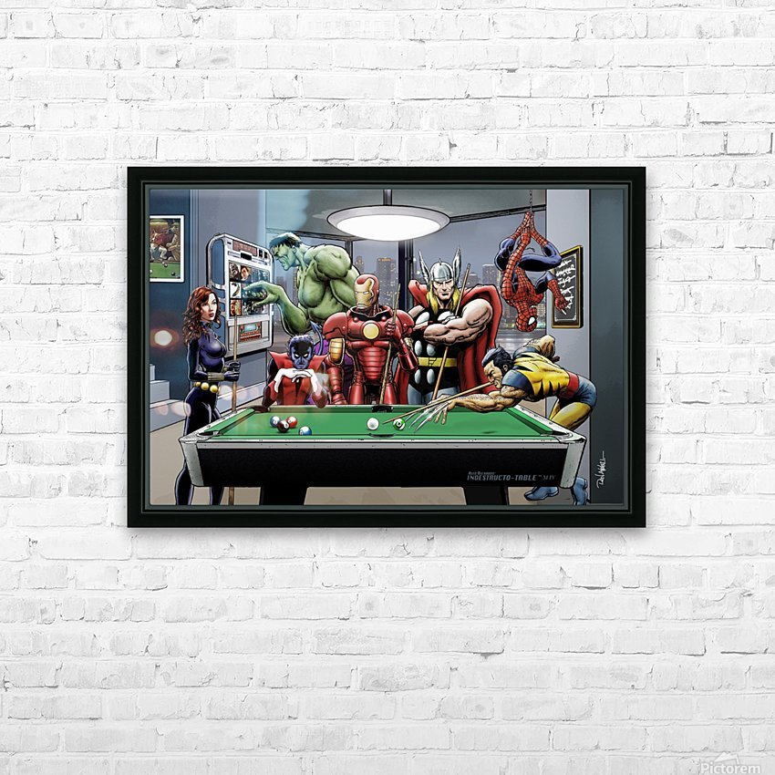 Afterhours: Marvel Superheroes Relax  Playing Pool featuring X-Men & Avengers, Wolverine, Spider-Man, Black Widow, Nightcrawler, Iron Man and Hulk HD Sublimation Metal print with Decorating Float Frame (BOX)