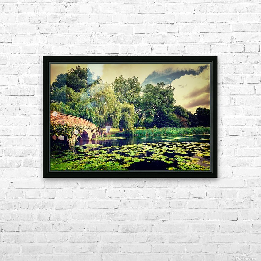 Zen Meditation Lily Pond HD Sublimation Metal print with Decorating Float Frame (BOX)