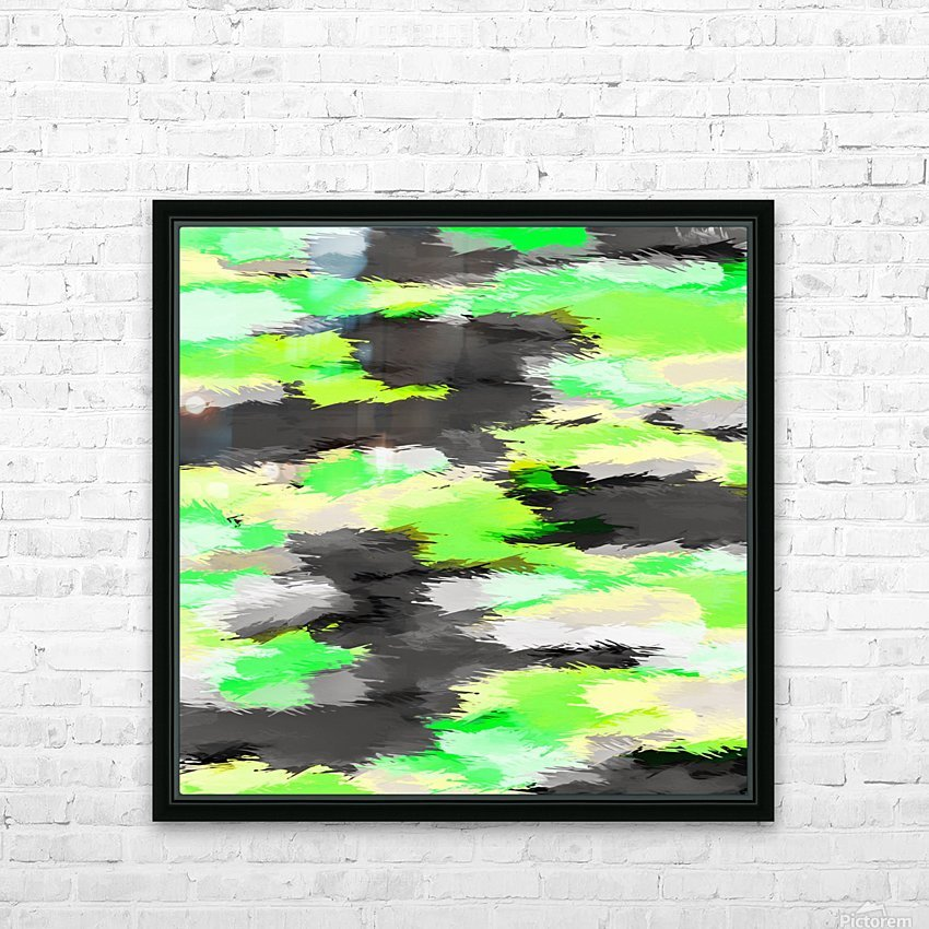 psychedelic camouflage splash painting abstract in green yellow and black HD Sublimation Metal print with Decorating Float Frame (BOX)
