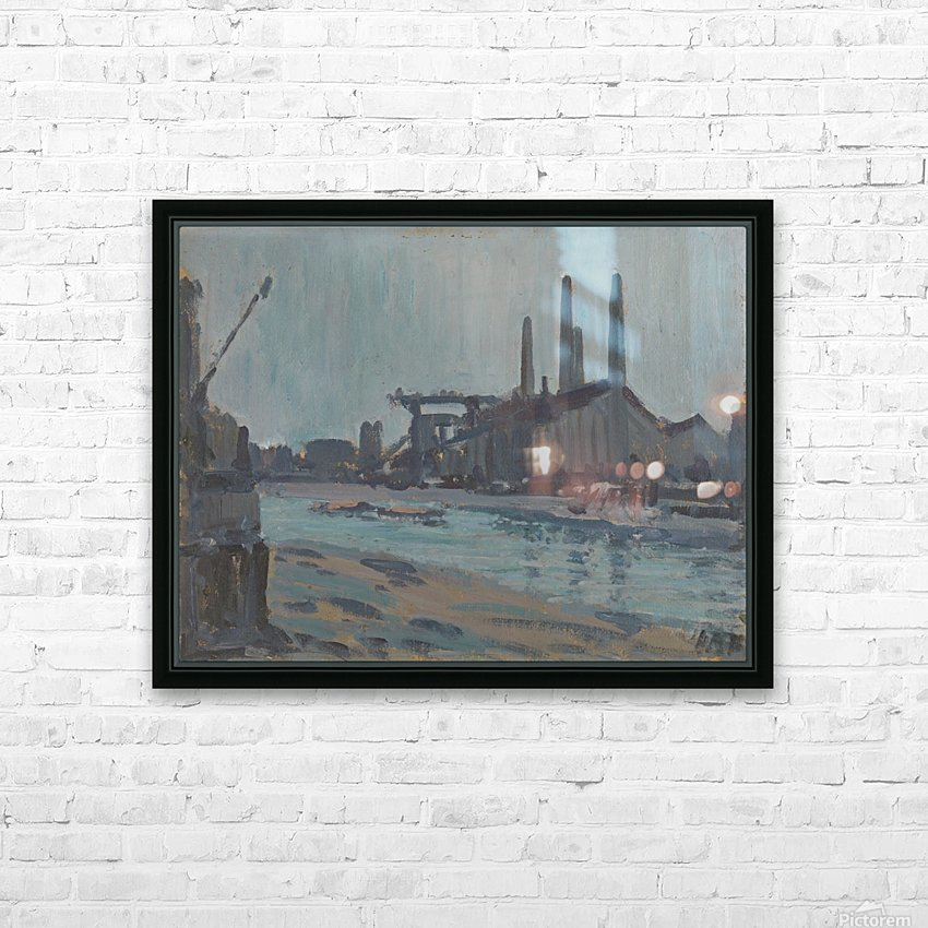 Landscape with industrial buildings by a river HD Sublimation Metal print with Decorating Float Frame (BOX)