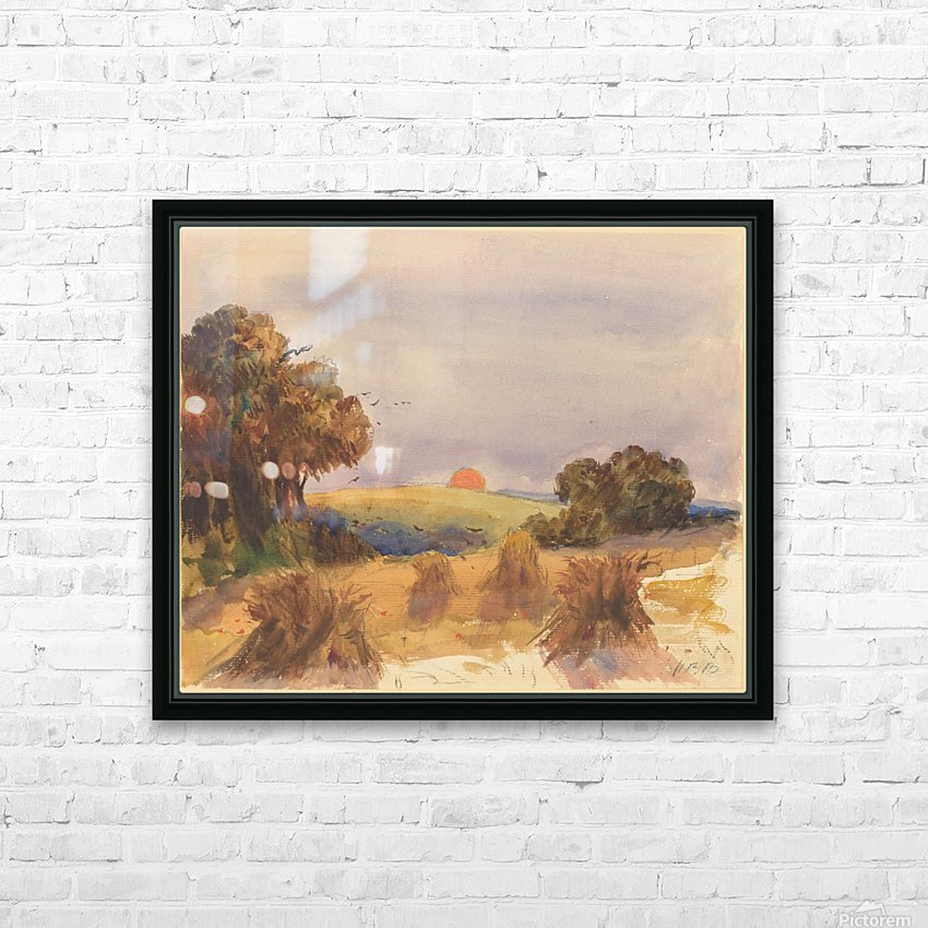 A cornfield at sunset HD Sublimation Metal print with Decorating Float Frame (BOX)