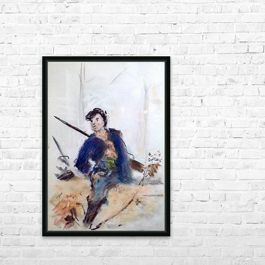 Study of a French soldier HD Sublimation Metal print with Decorating Float Frame (BOX)
