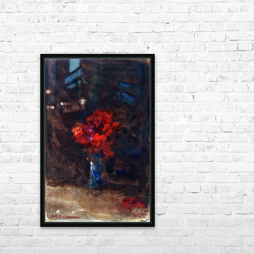 Red flowers in a blue vase HD Sublimation Metal print with Decorating Float Frame (BOX)