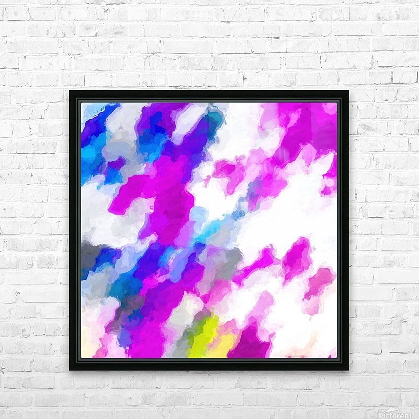 psychedelic painting texture abstract in pink purple blue yellow and white HD Sublimation Metal print with Decorating Float Frame (BOX)