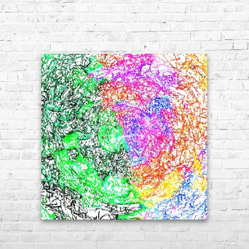 psychedelic splash painting abstract in pink purple green blue orange and yellow HD Sublimation Metal print with Decorating Float Frame (BOX)