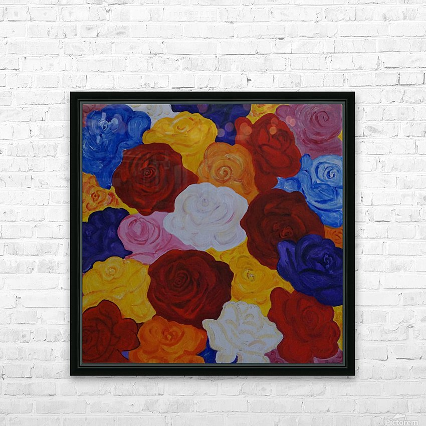 Colorful roses HD Sublimation Metal print with Decorating Float Frame (BOX)