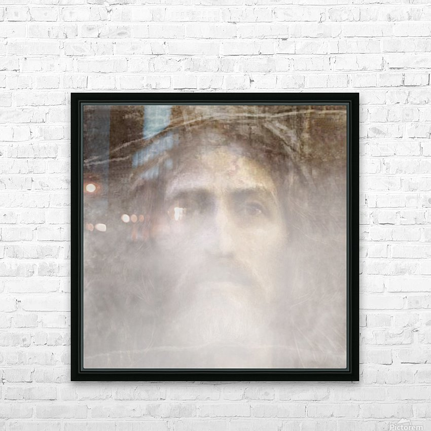Christ face hidden in fog HD Sublimation Metal print with Decorating Float Frame (BOX)