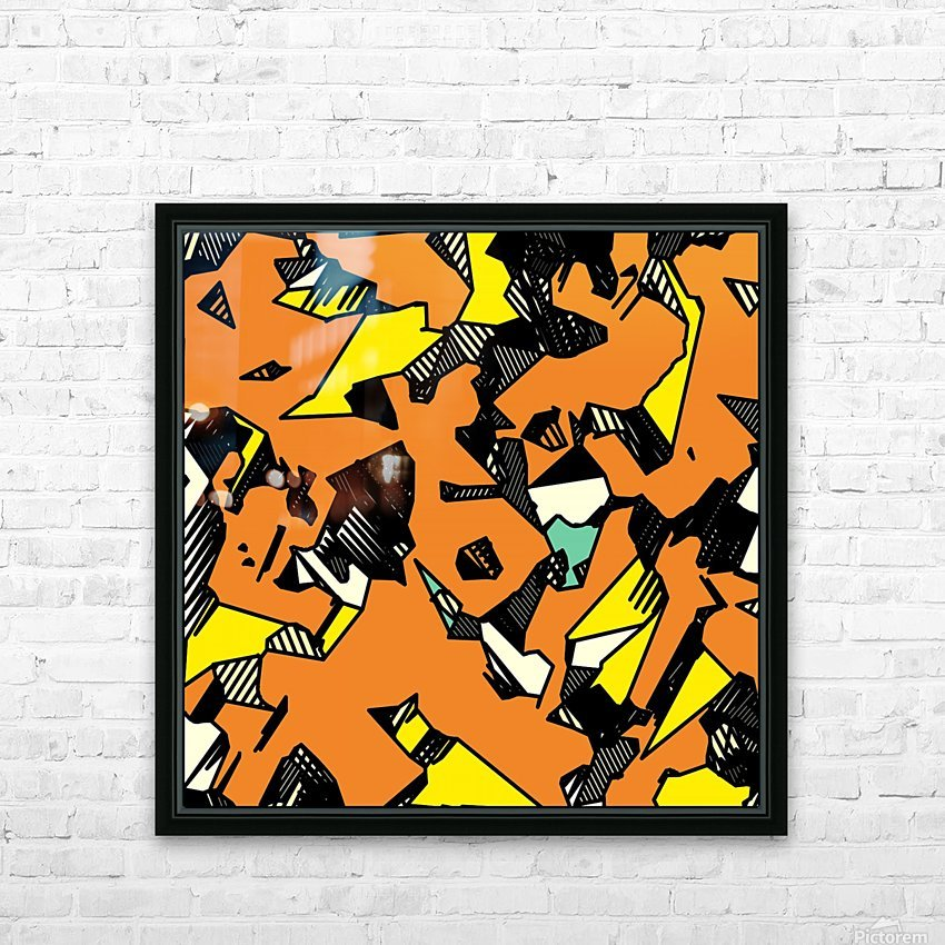 grunge geometric drawing and painting abstract in brown yellow and black HD Sublimation Metal print with Decorating Float Frame (BOX)