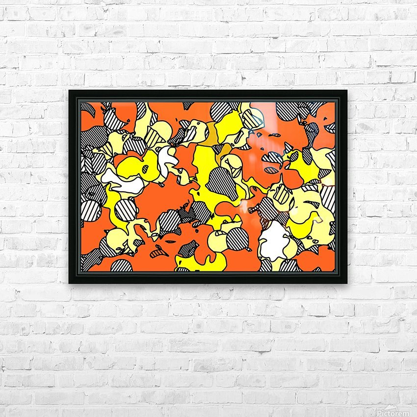 psychedelic drawing and painting abstract in orange and yellow HD Sublimation Metal print with Decorating Float Frame (BOX)