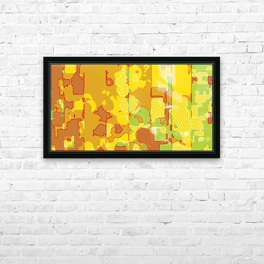 graffiti drawing abstract pattern in yellow brown and blue HD Sublimation Metal print with Decorating Float Frame (BOX)