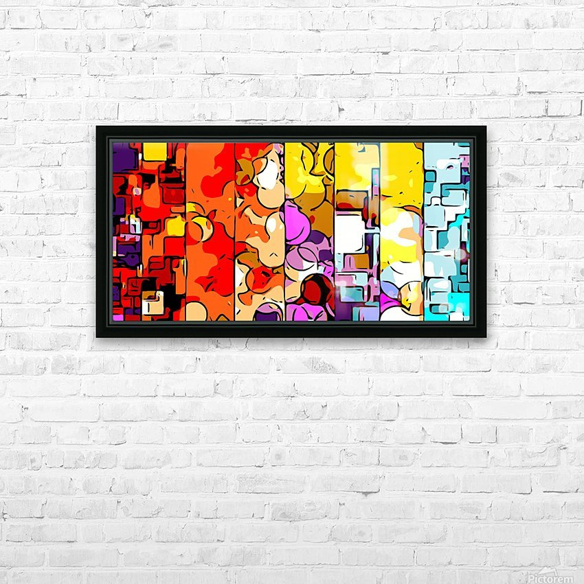 psychedelic geometric graffiti drawing and painting in orange pink red yellow blue brown purple and yellow HD Sublimation Metal print with Decorating Float Frame (BOX)