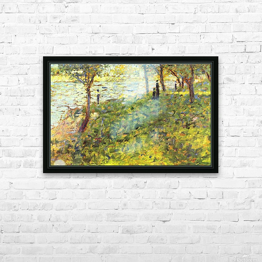 Landscape with figures by Seurat HD Sublimation Metal print with Decorating Float Frame (BOX)