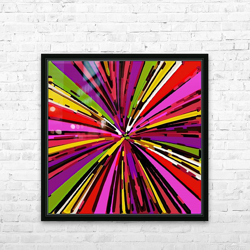 psychedelic geometric graffiti line pattern in pink purple yellow green red HD Sublimation Metal print with Decorating Float Frame (BOX)