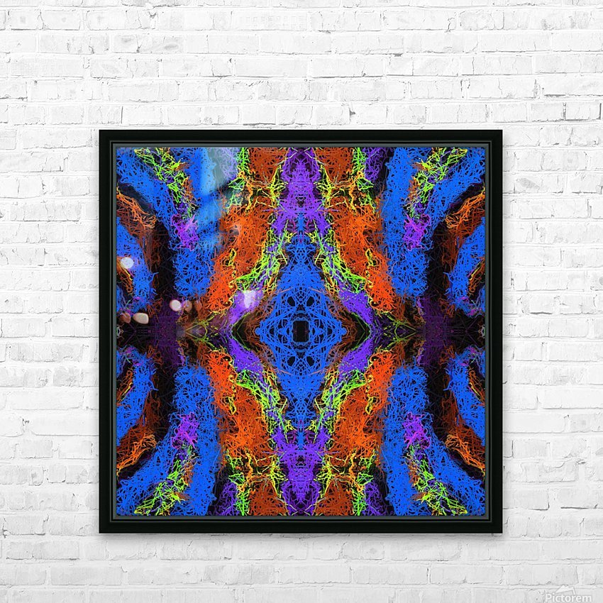 psychedelic graffiti geometric drawing abstract in blue purple orange yellow brown HD Sublimation Metal print with Decorating Float Frame (BOX)