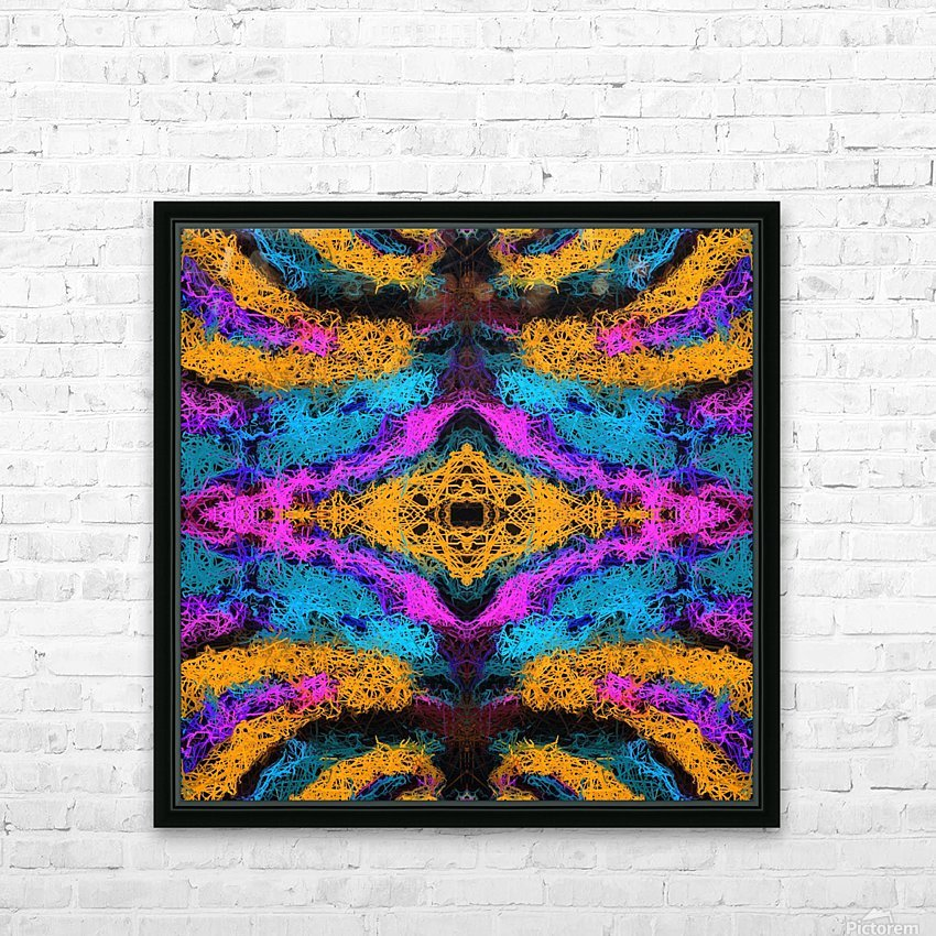 psychedelic graffiti geometric drawing abstract in pink orange blue HD Sublimation Metal print with Decorating Float Frame (BOX)
