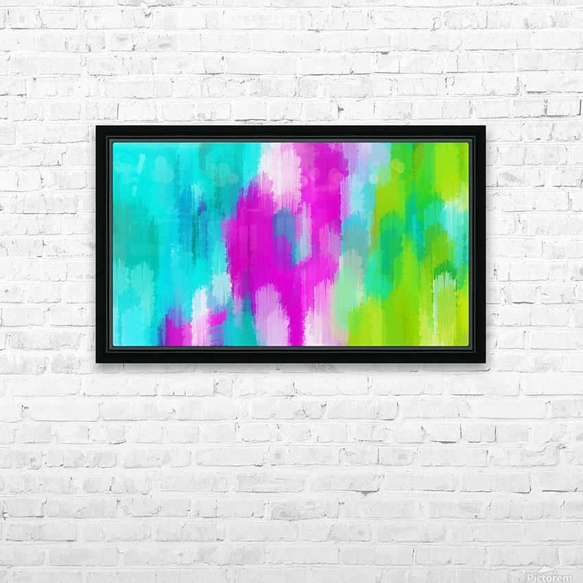 blue pink and green painting abstract background HD Sublimation Metal print with Decorating Float Frame (BOX)