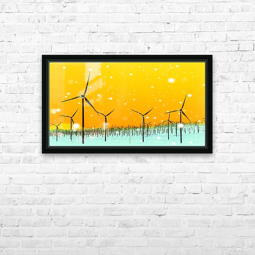 wind turbine at the desert with snow in winter HD Sublimation Metal print with Decorating Float Frame (BOX)