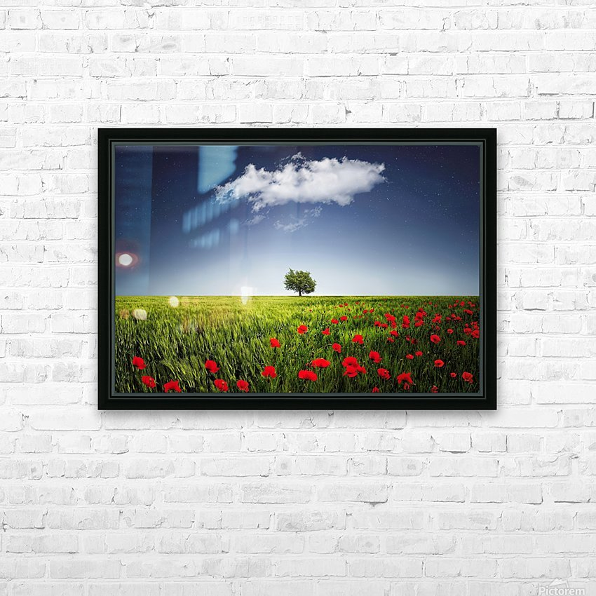 Lone tree a poppies field HD Sublimation Metal print with Decorating Float Frame (BOX)