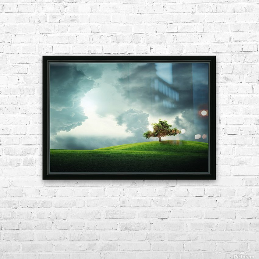 Lonely tree HD Sublimation Metal print with Decorating Float Frame (BOX)
