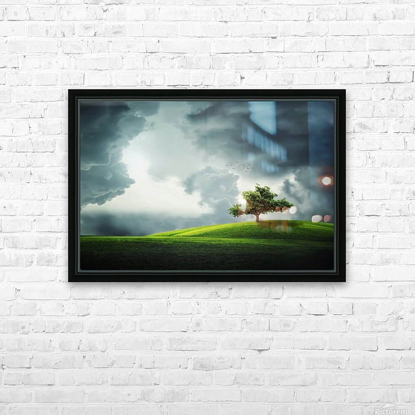 Lonely Tree, birds HD Sublimation Metal print with Decorating Float Frame (BOX)