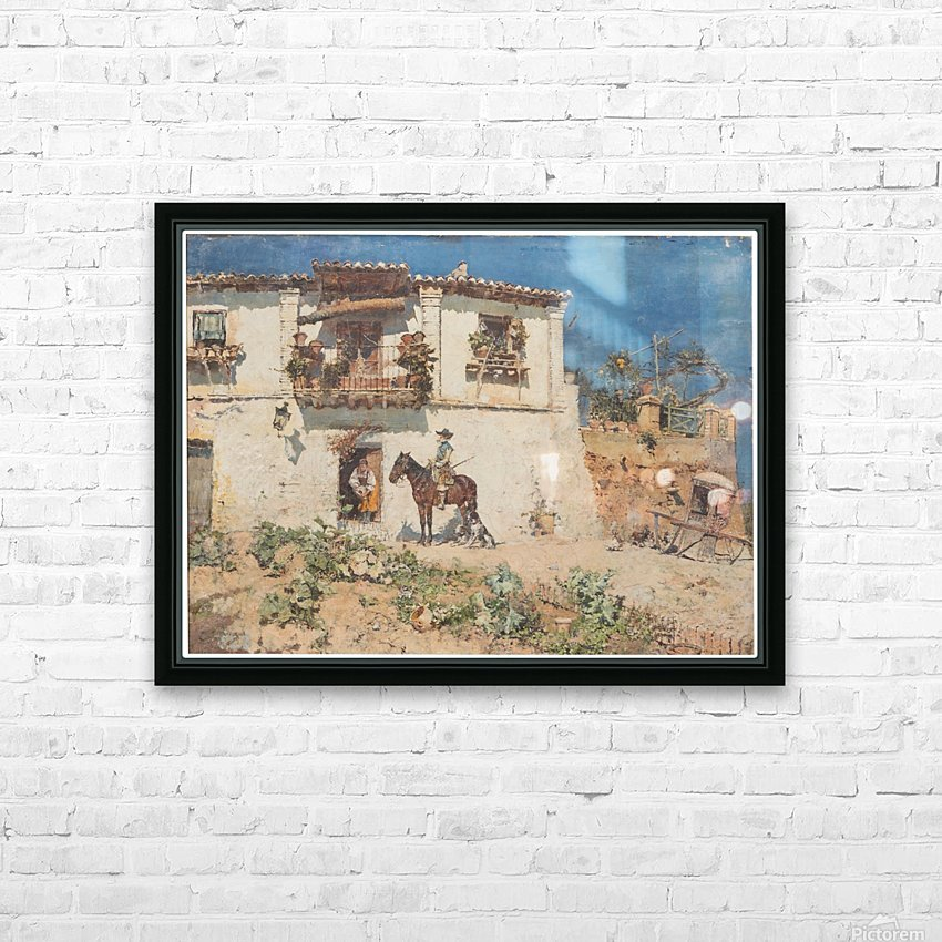 A man on his horse returning home HD Sublimation Metal print with Decorating Float Frame (BOX)