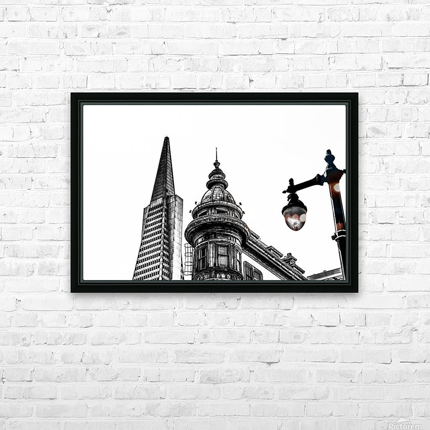 pyramid building and vintage style building at San Francisco, USA in black and white HD Sublimation Metal print with Decorating Float Frame (BOX)
