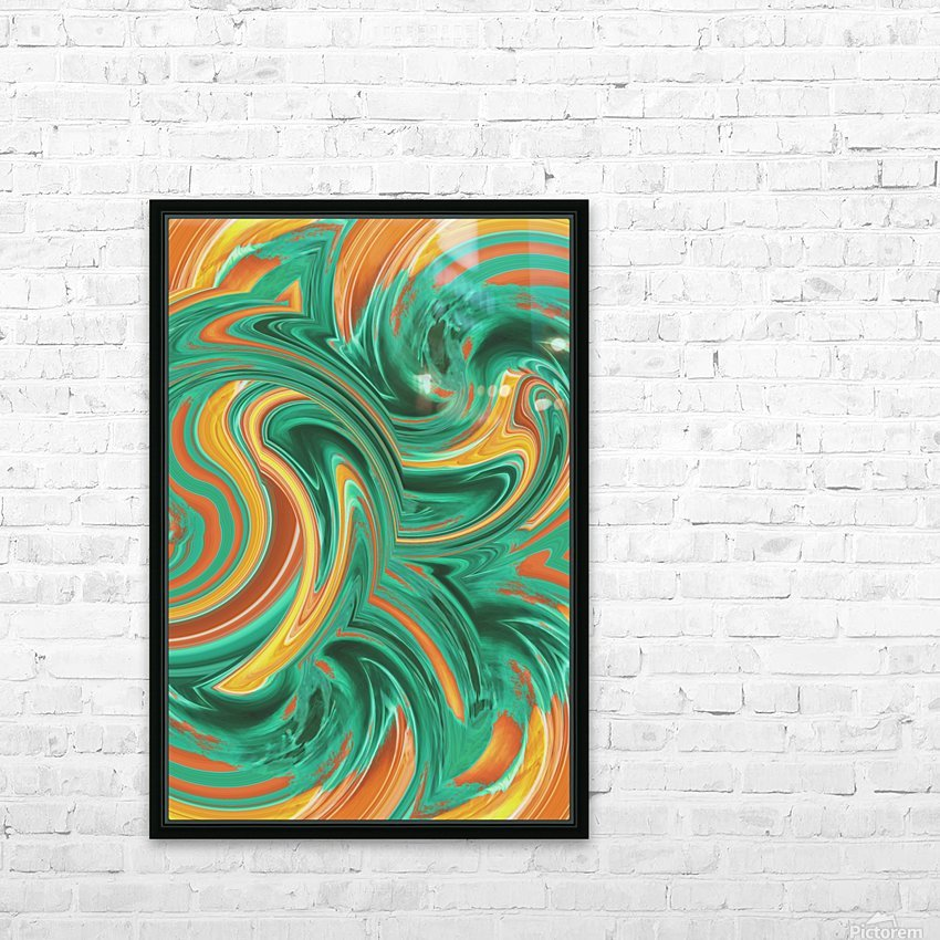 psychedelic graffiti wave pattern painting abstract in green brown yellow HD Sublimation Metal print with Decorating Float Frame (BOX)