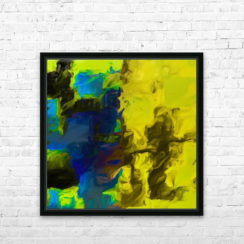psychedelic splash painting abstract in yellow blue and black HD Sublimation Metal print with Decorating Float Frame (BOX)