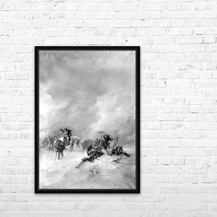 A pack of hunters in winter HD Sublimation Metal print with Decorating Float Frame (BOX)