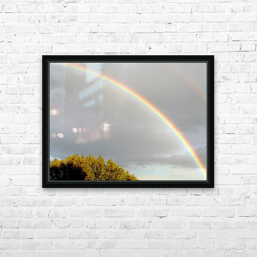 Landscape, photography - Double rainbow on Roman sky with tree - The Roman landscape, Rome, Italy, photography HD Sublimation Metal print with Decorating Float Frame (BOX)