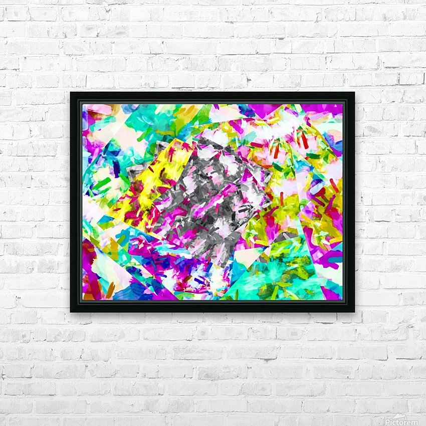 psychedelic splash painting abstract in pink blue yellow green purple HD Sublimation Metal print with Decorating Float Frame (BOX)