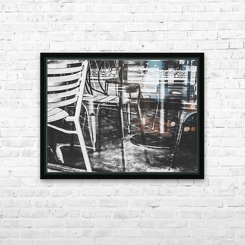outdoor chairs in the city in black and white HD Sublimation Metal print with Decorating Float Frame (BOX)